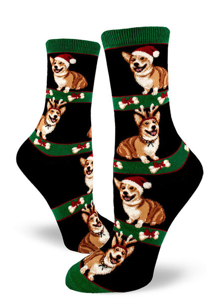 Cute Christmas corgi socks for women