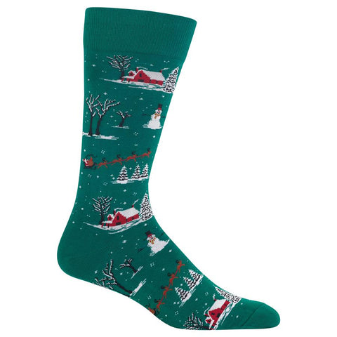 Christmas socks for men with a snowy Christmas scene