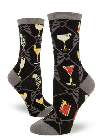 Cocktail socks for women with classic drinks