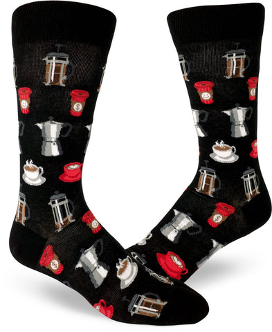 Coffee socks for men feature to-go cups, latte mugs, French presses and moka pots in shades of red and gray on a black background.