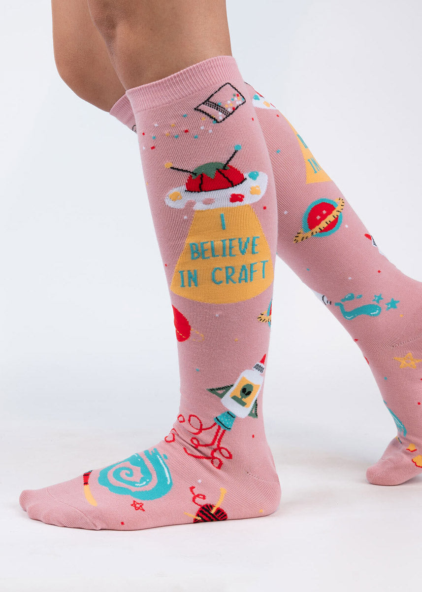 Funny crafting socks with aliens