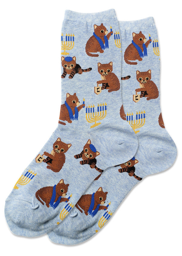 Cute Hanukkah socks for women with cats playing dreidel and lighting menorahs