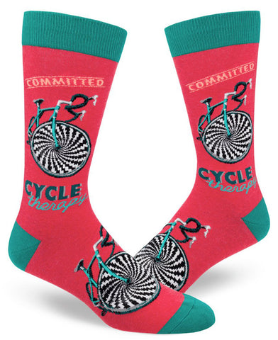Cycle Therapy bike socks for men with hypnosis wheels