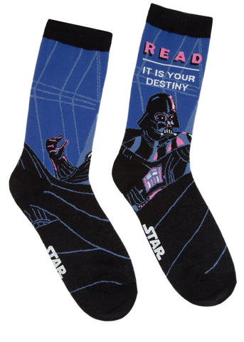 "Star Wars Men's socks with Darth Vader and the saying ""Read: It is your destiny"""