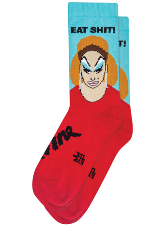 Funny Divine drag queen socks that say EAT SHIT