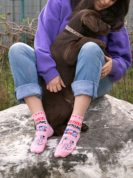 "Cute dog ankle socks that say ""Mother Fucking Puppy Power"""