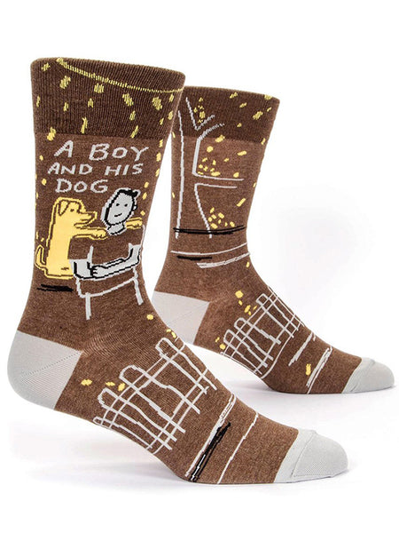 "Cute dog socks for men that say ""A boy and his dog"""