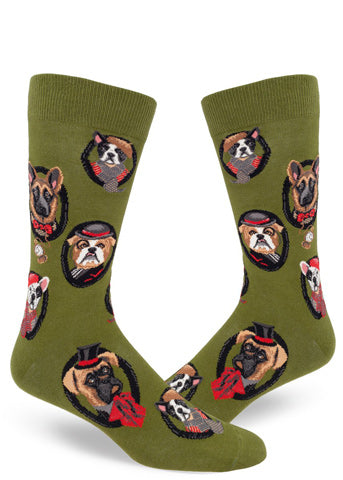 Funny men's dog socks with different dog breed dressed in human clothing