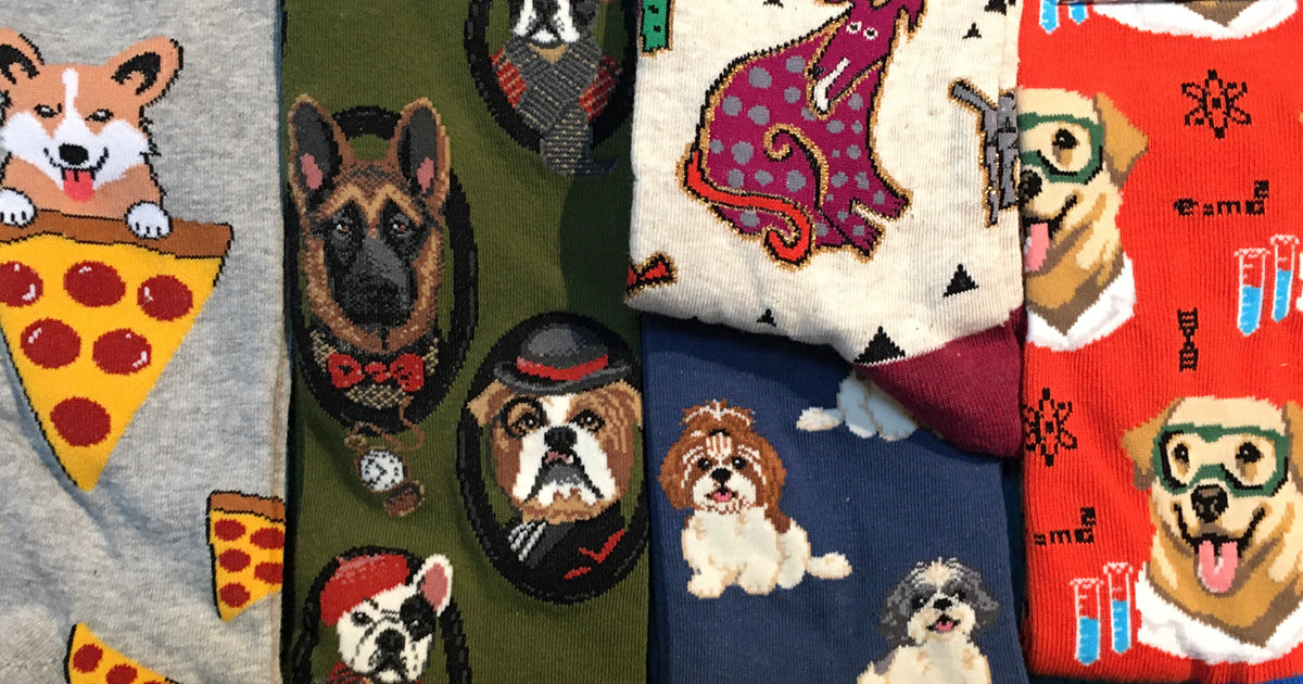 Dog socks with different dog breeds