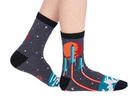 Kids' space socks with rocket ships