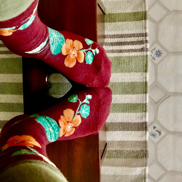 Floral socks with nasturtium flowers