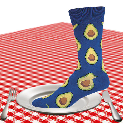 Men's avocado crew socks in blue
