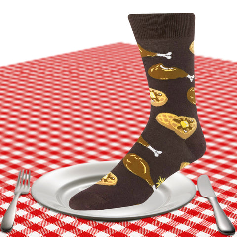 Men's chicken and waffles crew socks in brown