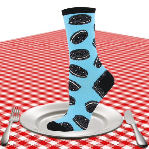 Women's cookies and cream crew socks in blue