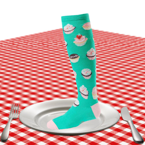 Kids cupcake knee socks in teal