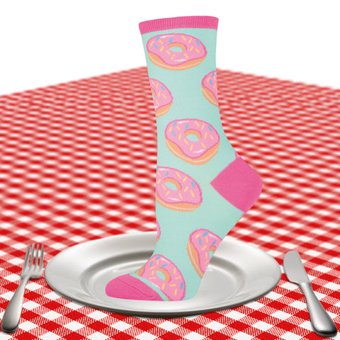 Women's donut crew socks in mint and pink