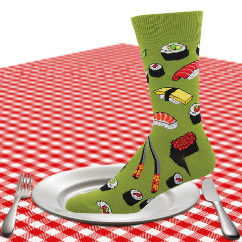 Men's sushi crew socks in green