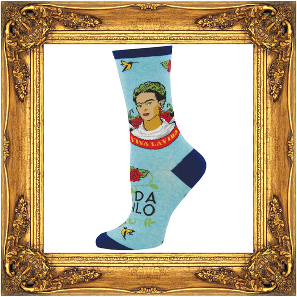 Frida Kahlo socks feature a self portrait of the artist on an aqua background.