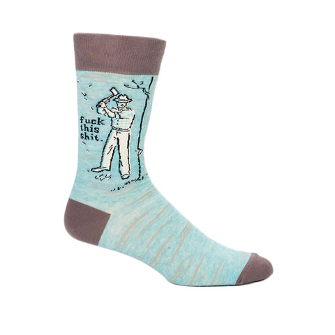 Men's Fuck This Shit Crew Socks in blue