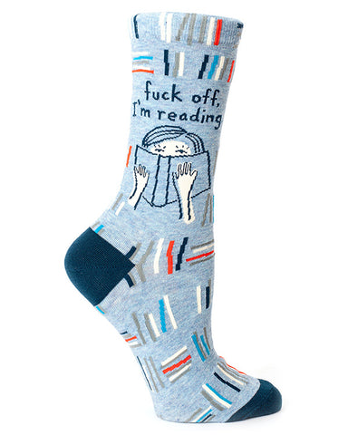 "Funny socks that say ""Fuck Off I'm Reading"