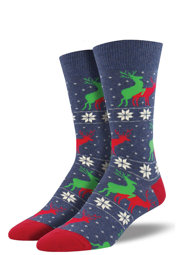 Funny Christmas socks for men with humping reindeer