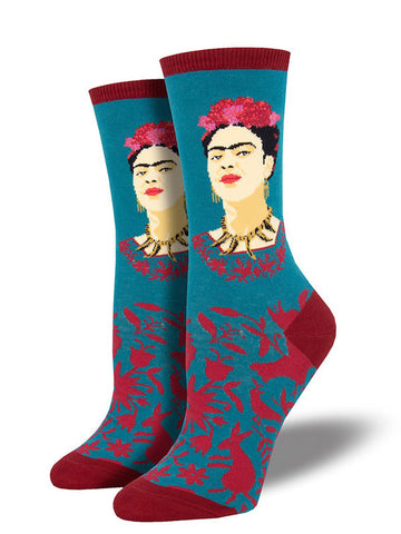Frida Kahlo socks for women with Frida wearing flowers