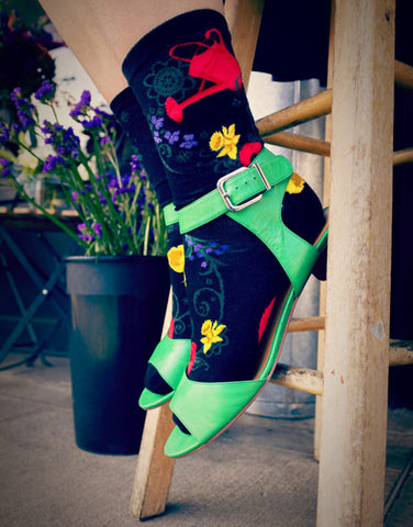 Gardening socks for women with flowers and watering cans