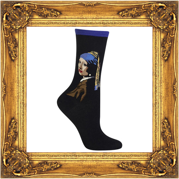 The Girl with a Pearl Earring painting by Dutch painter Johannes Vermeer is featured on a black crew sock.