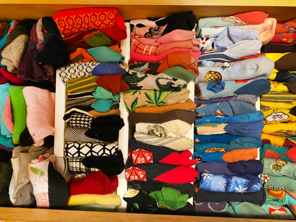 A well-organized sock drawer