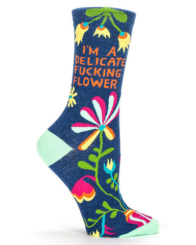 Delicate Fucking Flower socks with funny swear words