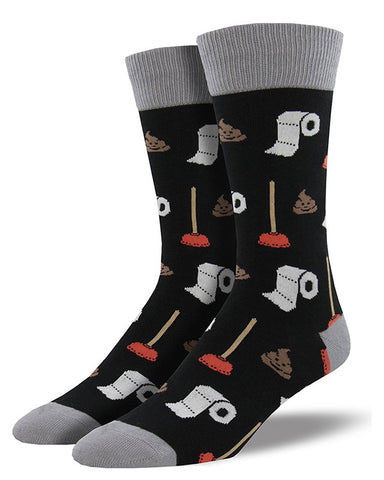 Poop socks with turds, plungers and toilet paper