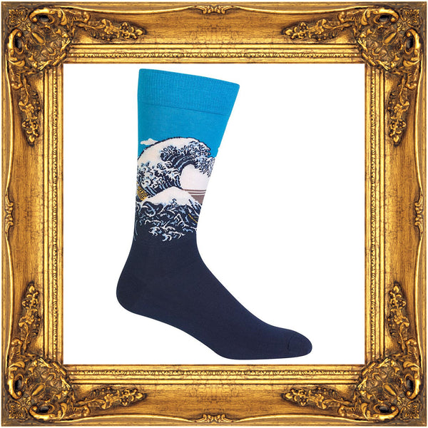"Japanese woodblock print ""The Great Wave Off Kanagawa"" is reproduced on these men's art socks."