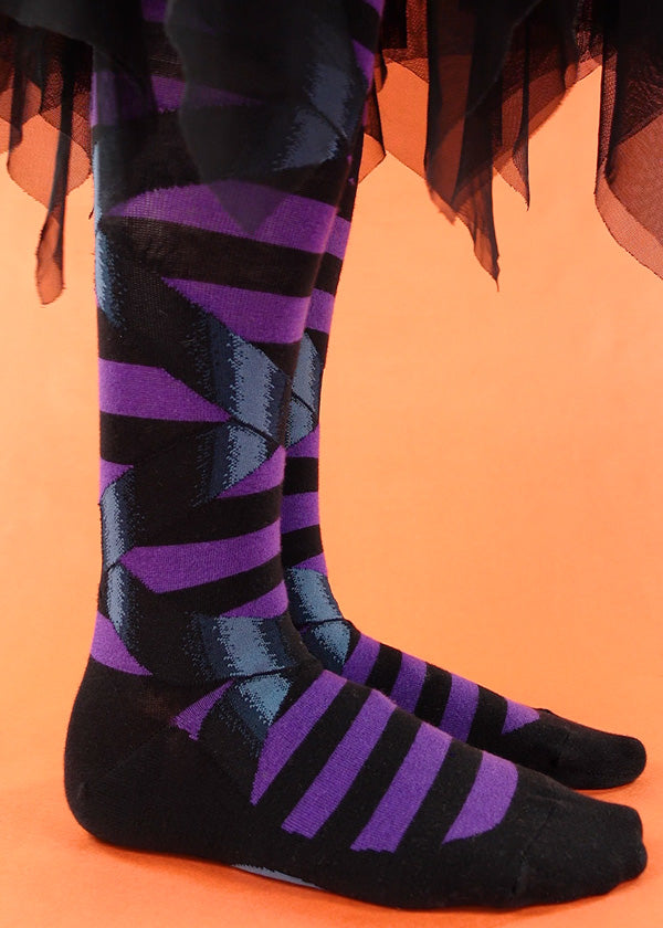 Cute goth witch socks with faux ribbon and faux ballet flats