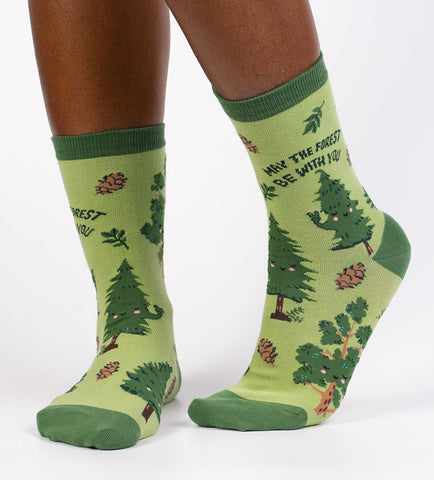"Cute tree socks for women that say ""May the Forest Be With You"""