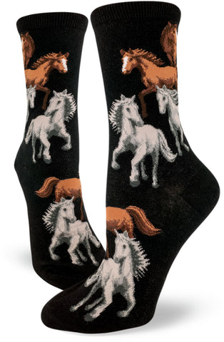 Black socks with gray and brown horses.