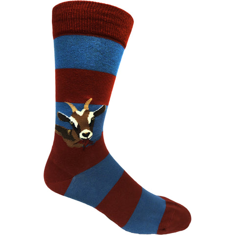 Hungry Goats Men's Crew Socks in blue and red stripes with goats eating the stripes