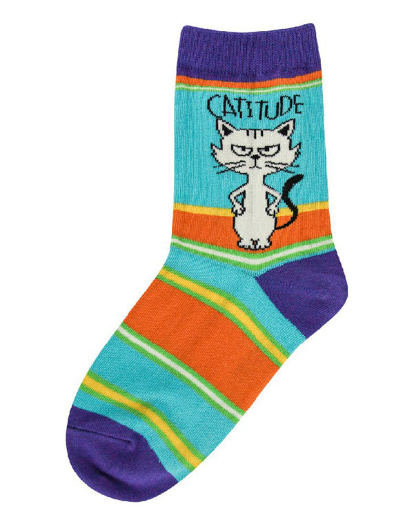 "Funny cat socks for kids that say ""Catitude"""