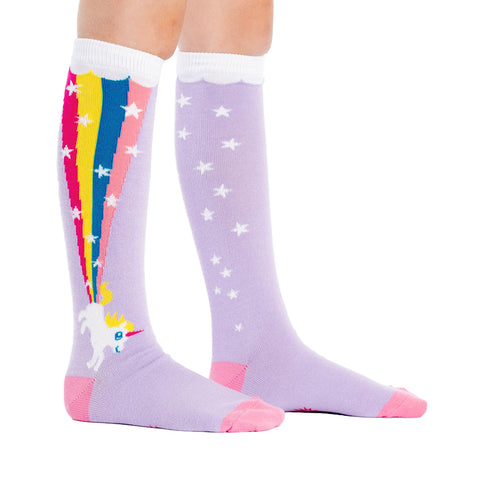 Kids' Farticorn Knee Socks in purple with unicorns and rainbows