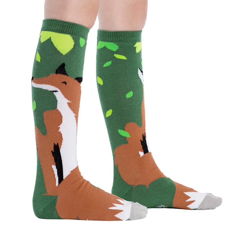 Kids' Fox Knee Socks in green with a fox