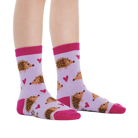 Kids' Hedgehog Crew Socks in purple with pink hearts