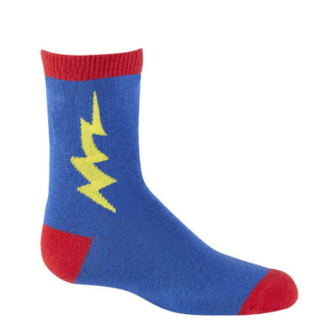 Kids' Superhero Crew Socks  in blue with lightening bolt