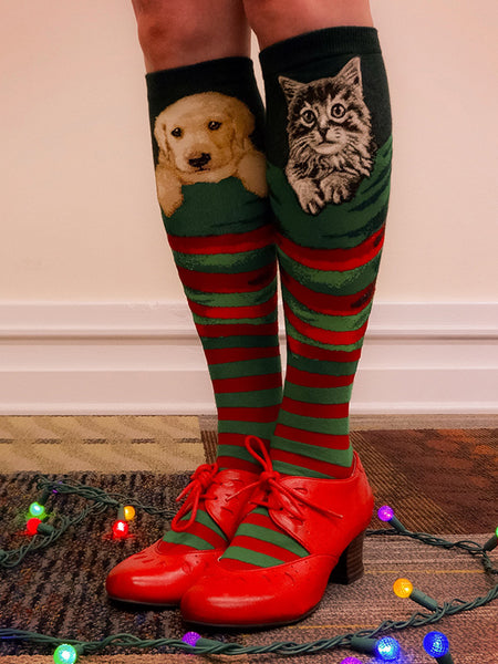 Knee-high Christmas dog socks with yellow lab puppies (Christmas kitten socks also pictured)