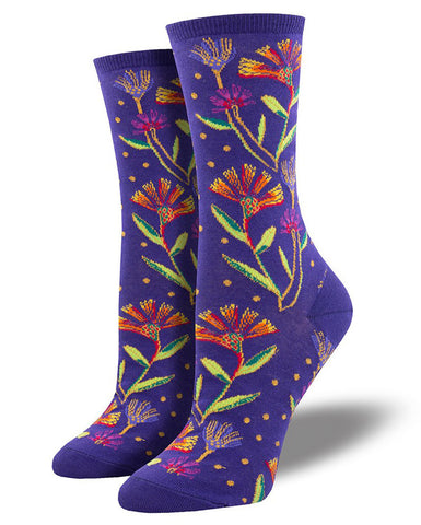 Laurel Burch socks for women with wildflowers
