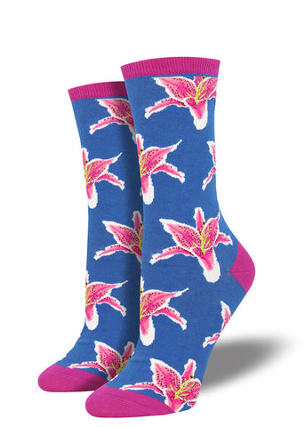 Lily socks for women with pink lily flowers