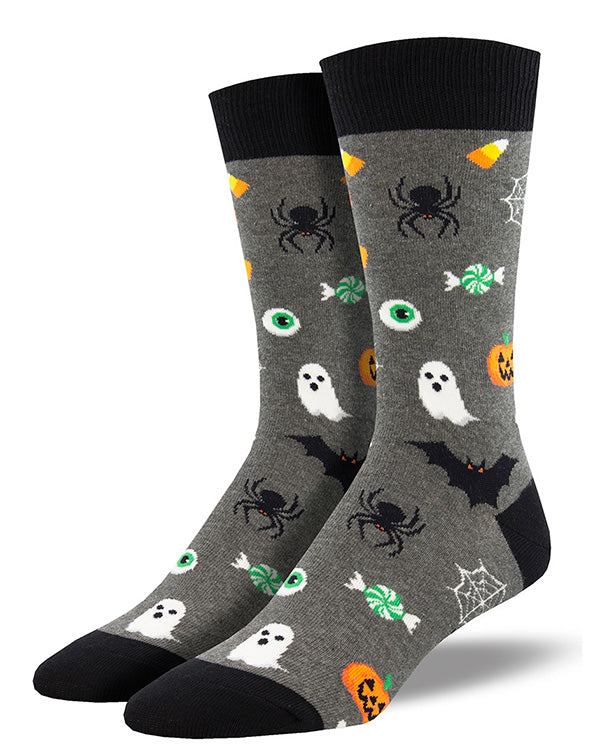 Cool Men's Halloween socks with sweet candy and spooky stuff like bats and spiders
