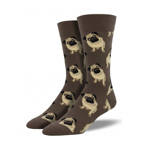 Men's crew socks with pugs