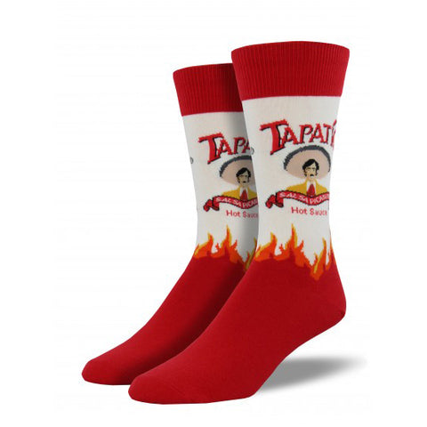 Men's red and white crew socks with Tapatio logo