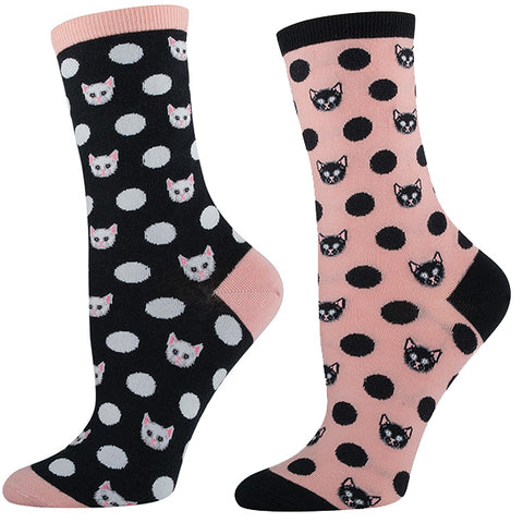Meow-ka Dot Crew Socks - pink and black polka-dot cat socks