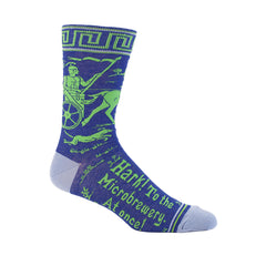 "Men's crew socks that say ""Hark to the microbrewery."""