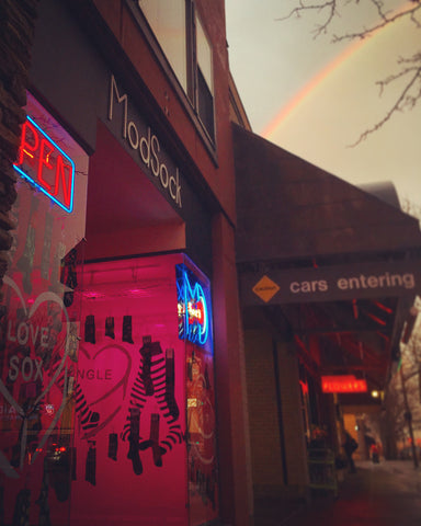 ModSock sock shop in Bellingham, WA and at the end of the rainbow.